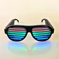 Wholesale Party Favor Supply Sound Activated Led Light Black Glow Sunglasses