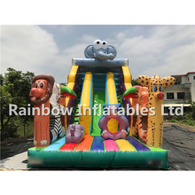 Customized Giant Inflatable Jungle Theme Slides with Cartoon Pattern