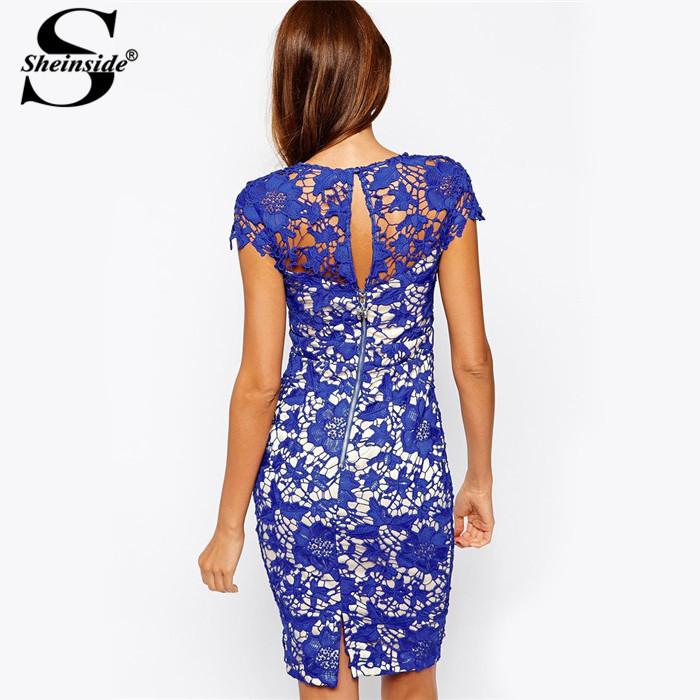 Платье Sheinside кружево свободного покроя лето, roupas Femininas Vestidos год одежда женщины винтажный синий короткий рукав вязка крючком