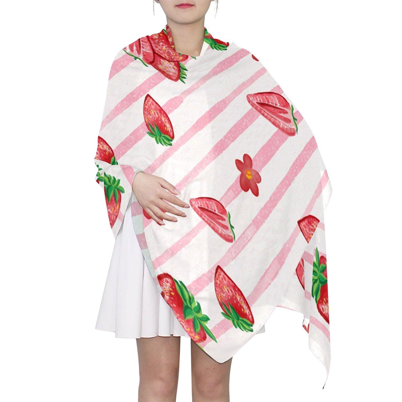 DGYEG44 Strawberries Printing Scarf Kids Warm Soft Fashion Scarf Shawl For Autumn Winter