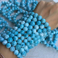 TOP Quality Nice Natural Larimar Beads stretch bracelets Rough Stones For Sale Wholesale