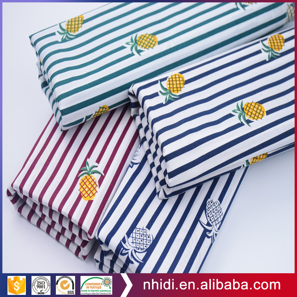Popular woven textile stripe and pineapple printed poplin fabric cotton for dress
