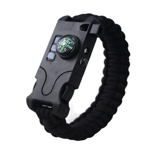 New Arrival Wide Varieties 7 Strands Parachute Multifunction 550 Military Paracord Bracelet With Compass LED Light Whistle