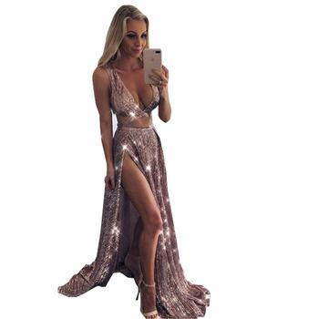 ff3a9e7a4e2a Bling Brillante Oro Rosa Lentejuelas Baile De Graduación Vestido De Noche  Con Cuello En V Profundo,Lado Alto Mujer Dividido Formal Vestidos 2018 -  Buy ...