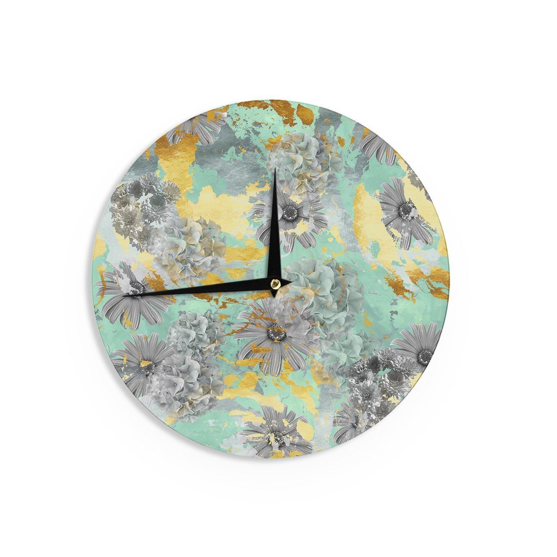 """KESS InHouse Zara Martina Mansen """"Mint Gold Garden"""" Green Gray Wall Clock, 12"""""""