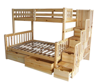 solid wood kids bunk beds with storage stairs WJZ-B55