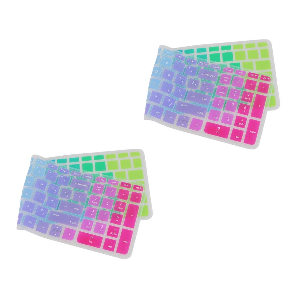 MagiDeal Pack of 2 Silicone Keyboard SKin Cover Guard Film Protector Colorful for HP Pavilion 15inch