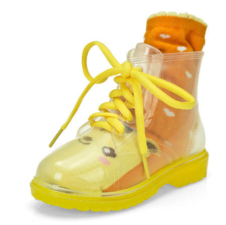 girl half Rubber PVC Rain Boots kids fashion water boots