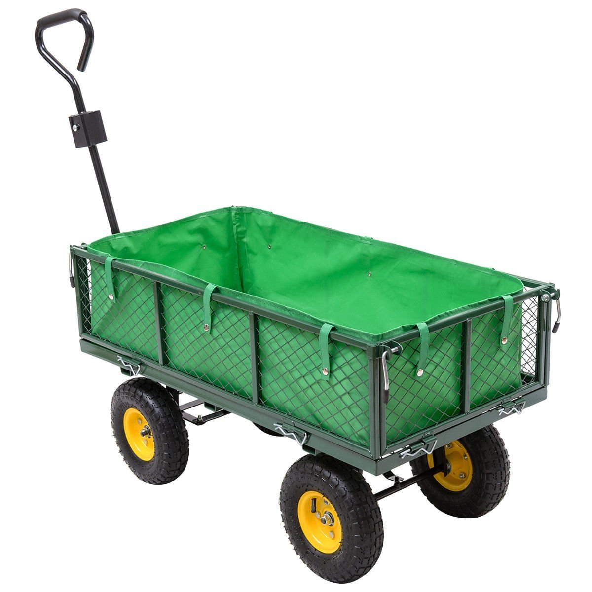 Globe House Products GHP 800-Lbs Capacity Steel Mesh Crate Oxford Cloth Garden Trolley Cart w Rubber Tires