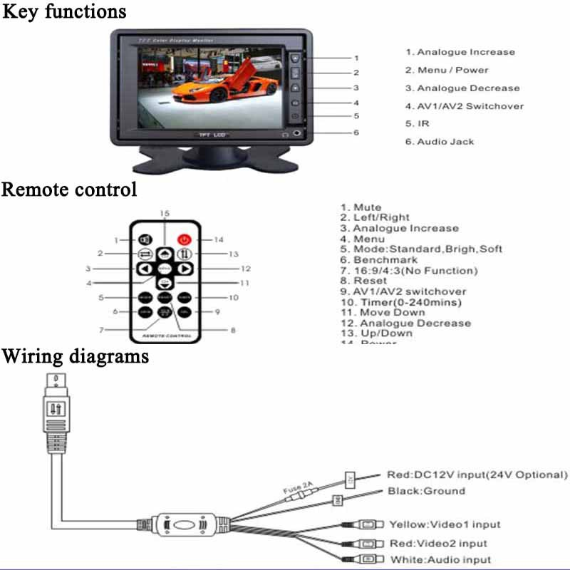High Resolution 5.6 Inch Car Lcd Headrest Monitor With Rca Input - on