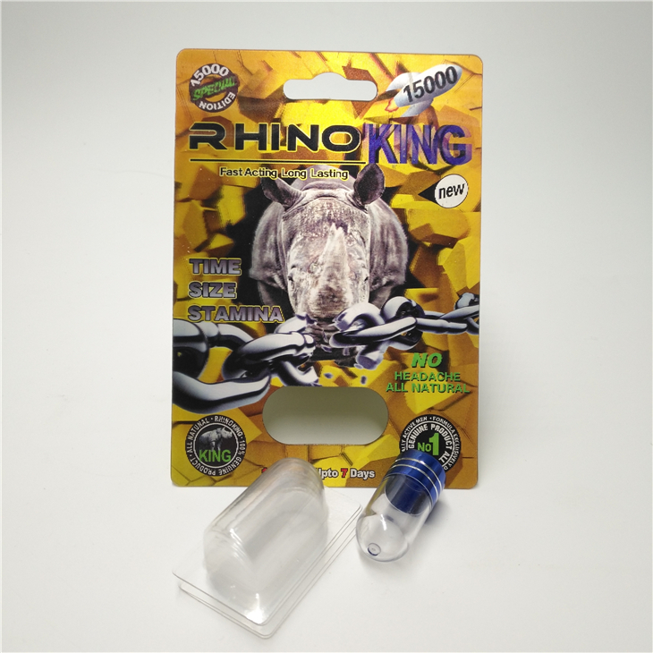 Hot Sale 3D Custom Printing King Rhino Blister Paper Card And Display Box For Chinese Male Enhancement Pills Packaging