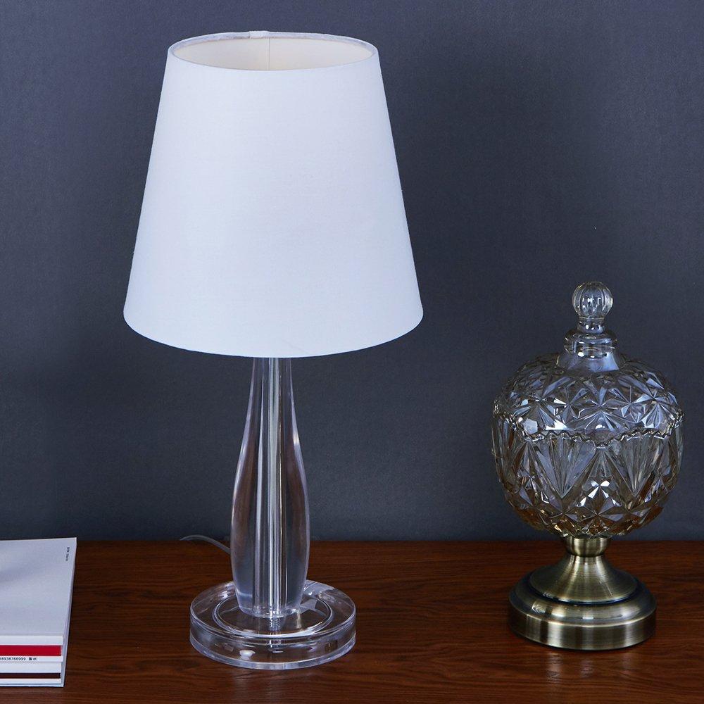 SOTTAE Fashionable Modern Clear Crystal Base Livingroom Bedroom Bedside Table Lamp,White