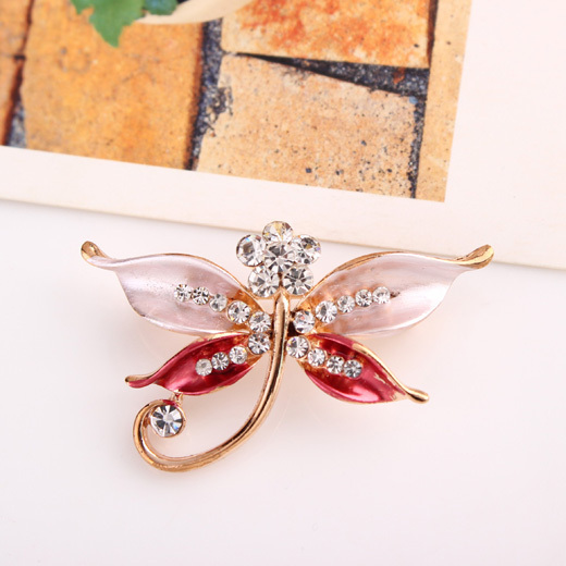 New Arrival Clear Rhinestone Brooch Pins Red Crystal Butterfly Pattern Brooch Pins Clips Women Children Special Gift
