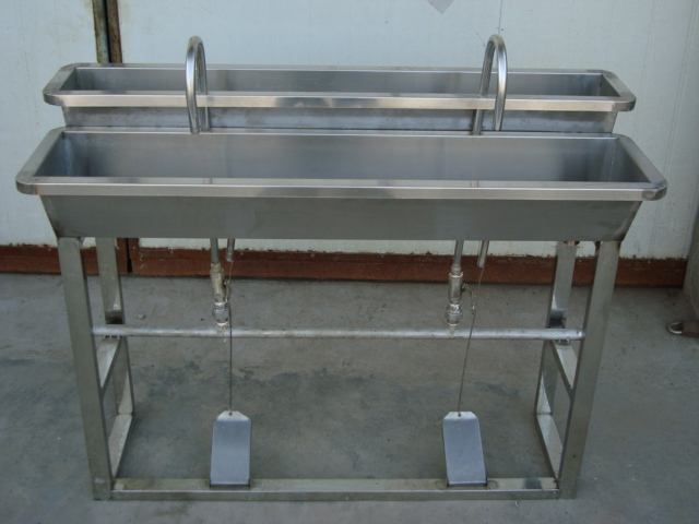 Stainless Steel Foot Pedal Operated Hand Wash Sinks
