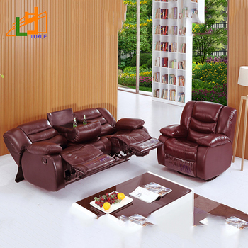 Latest Design Real Leather Sofa Set Small Living Room Reclining Sectional With Teapoy
