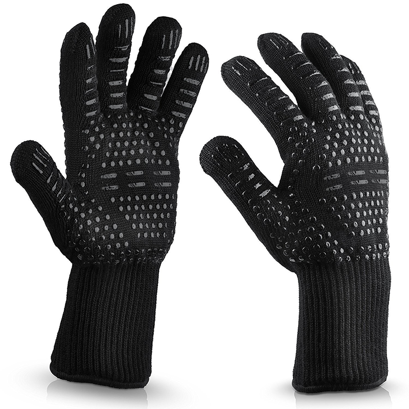 Anti-hot Bilayer Stricken Hohe Temperatur BBQ Handschuhe Verdickung Silikon Baumwolle Grill & Backen Handschuhe