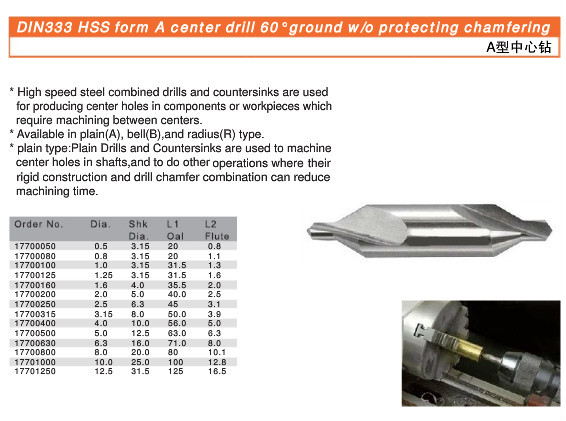 Din 333 Hss Form A,B And R Center Drill Bit Ground Protercting ...