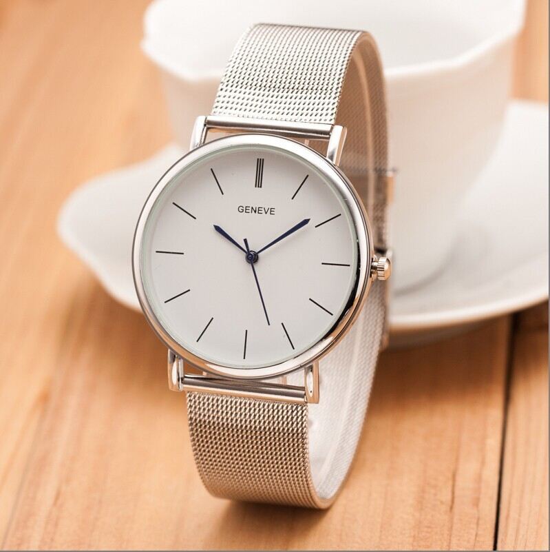 2017 New Famous Brand Silver Casual Geneva Quartz Watch Women Metal Mesh Stainless Steel Dress Watches Relogio Feminino Clock