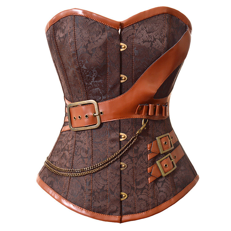 337fafb6b Get Quotations · Sexy Corsets And Bustiers Brown Corset Fashion Women Waist  Training Corsets With Chain Overbust Corsets Plus