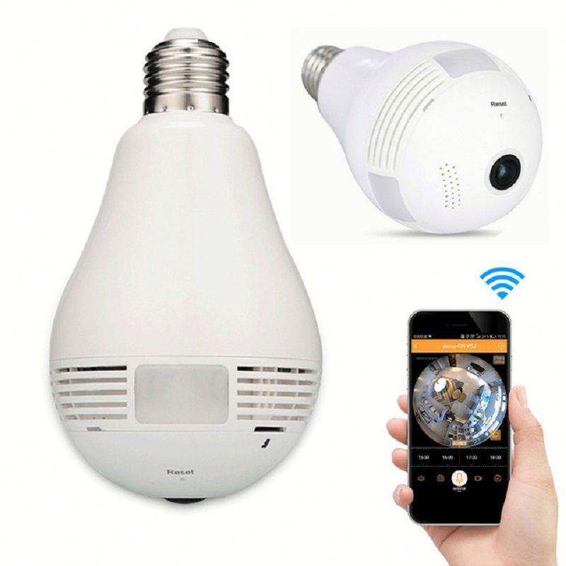 360 degree fisheye home security system P2P Network IP WIFI wireless hidden camera light bulb