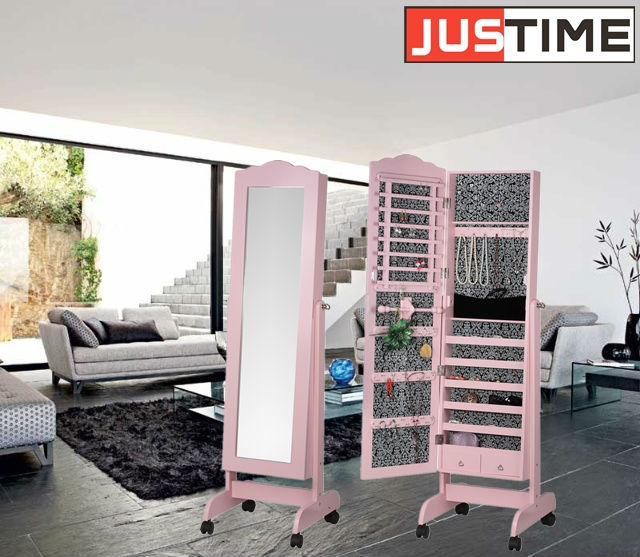 Practical Storage Cabinet Makeup Mirror Full Length Showcase Furniture Mirrored Jewelry