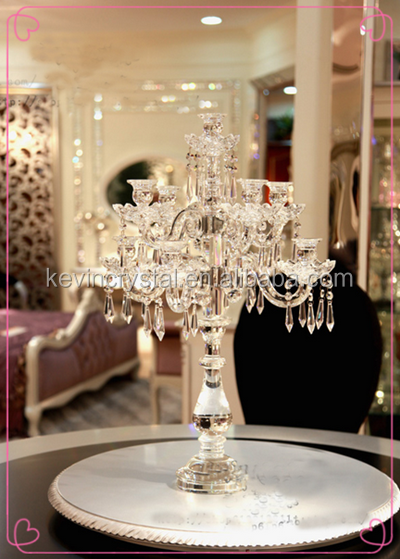 New and hot excellent Pillar crystal candelabra for home decoration