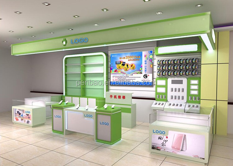 Mobile Display Showcases For Mobile Phone Shop Interior Design And ...