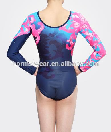 Ombre sublimatie mystique meisjes lange mouwen gymnastiek dancewear maillots