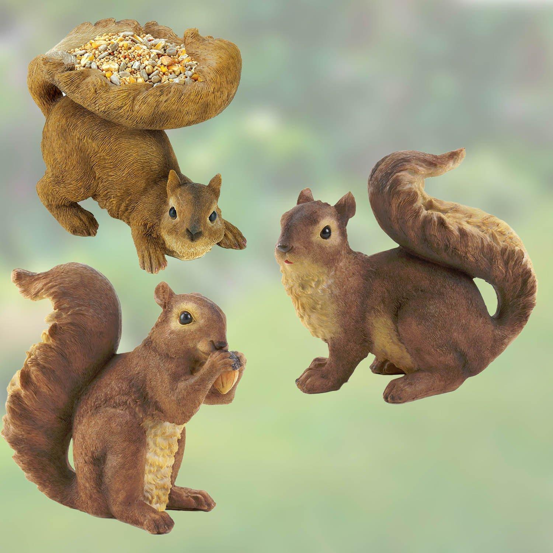 Squirrel Garden Statue Trio   Curious / Nibbling And Birdfeeder Squirrel
