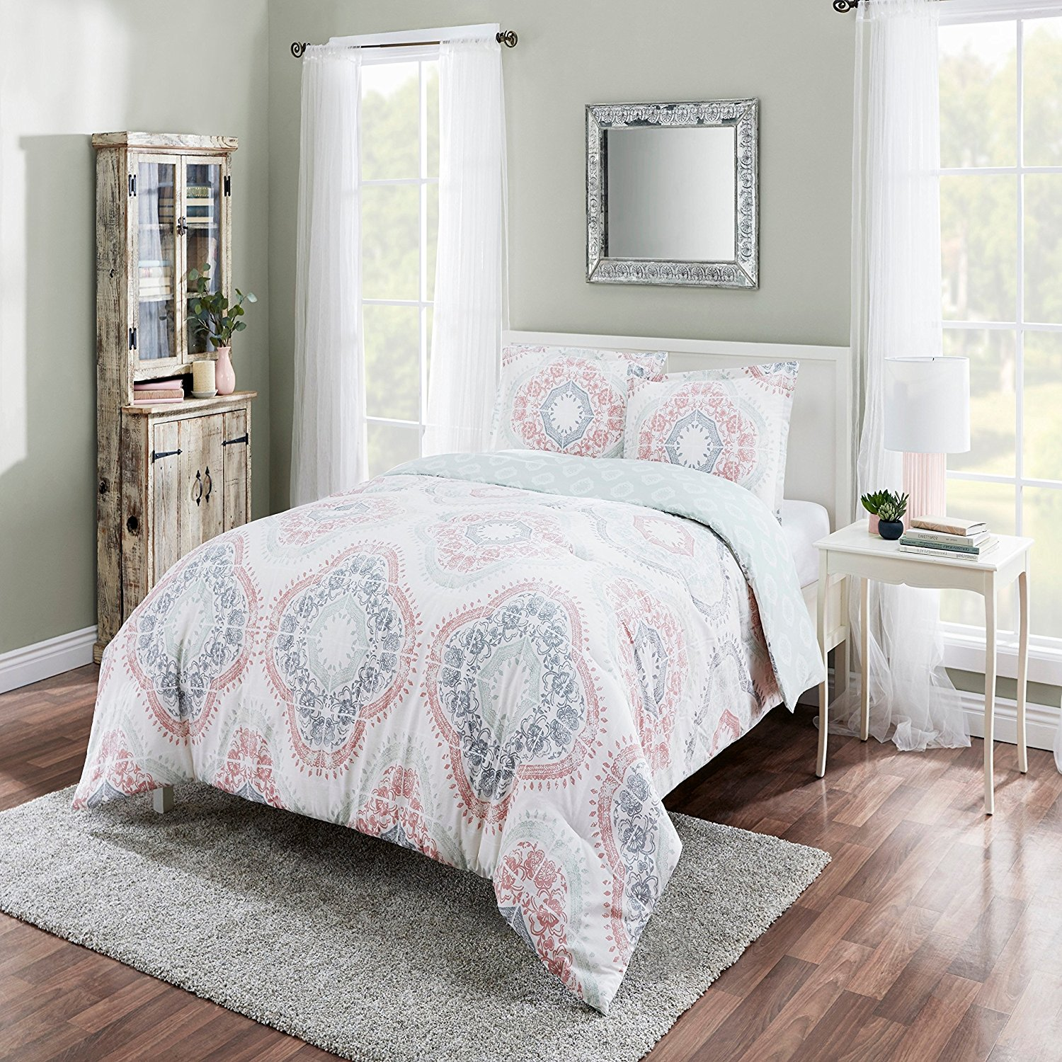 D.I.D. 3 Piece Girls Pink White Grey Geometric Medallion Themed Comforter Queen Set, All Over Multi Quatrefoil Hippy Boho Chic Bedding, Dusty Blue Intricate Bohemian Motif Hippie Pattern, Cotton