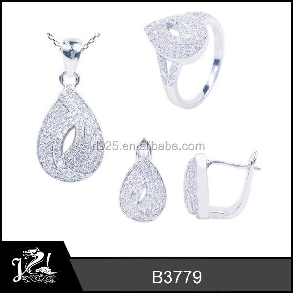 JRL Bridal fashion jewelry sets teardrop shaped with silver plating jewelry set for lady