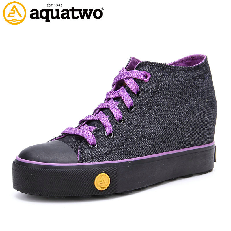 Aquatwo Brand Canvas Upper Lady Comfort Shoes With Height Increasing Wedge
