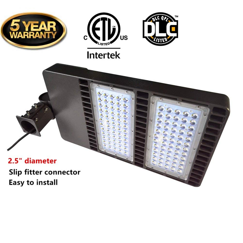 LED Shoebox lighting Parking Lot Light for 200W To 1000W HID Replacement AC100-277V Over 100lm Per Watt IP65 Waterproof for Round Pole in Street, Garden Path, Parking Lot Wet Application (300W)