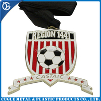 Metal craft & sport football award medal with mass production, medal with ribbon