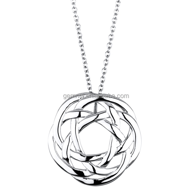 Simple Platinum Plated Celtic Knot Short Silver Charm Necklace Chain