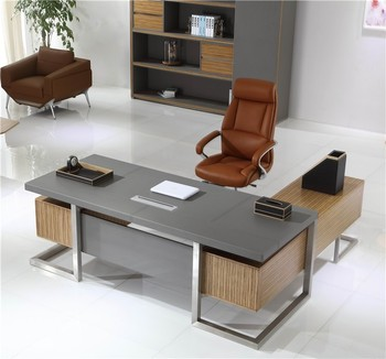 Luxury Office Table Executive Ceo Wooden Desk W 07 Stainless Steel Legs Computer