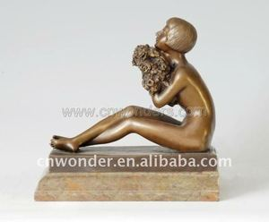 Best selling fat bronze lady yoga sculpture