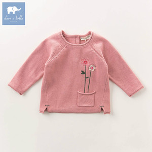 DB5745 dave bella autumn infant baby girls fashion tee toddler lovely tops children high quality knitted sweater