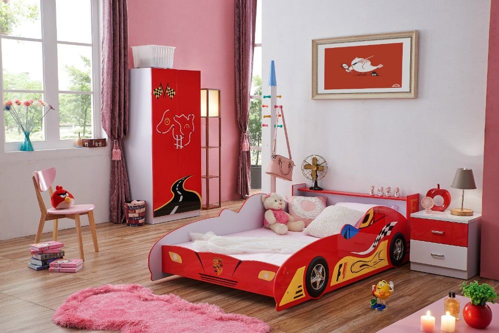 Alta Calidad Niños Mdf Muebles Rojo Carrera De Coches Cama - Buy ...