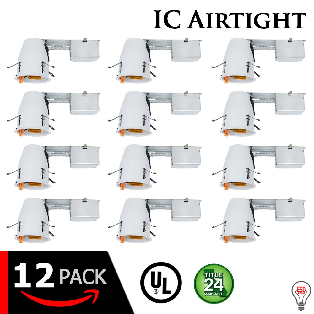 "4"" Inch LED Remodel Can Air Tight IC Rated Housing for Recessed Lighting – UL Listed and Title 24 Certified (4 INCH, 12-PACK)"