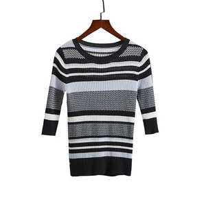 Professional manufactory directly Round Neck Woman Sweater Pullover Striped Desgin Lady with competive price