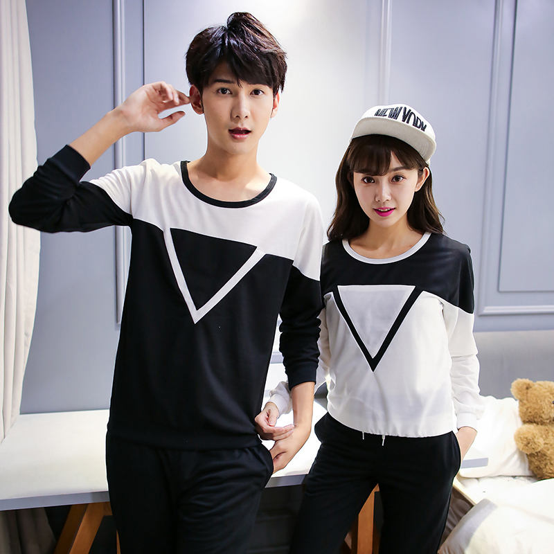 Triangle cotton korean couple shirts with long sleeves ...