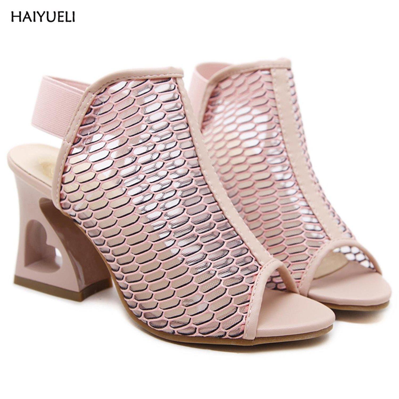 20549d36c227 Get Quotations · 9cm Pink Shoes Summer Women High Heel Wedge Sandals  Fashion Strange Style Heel Ladies Wedge Heels