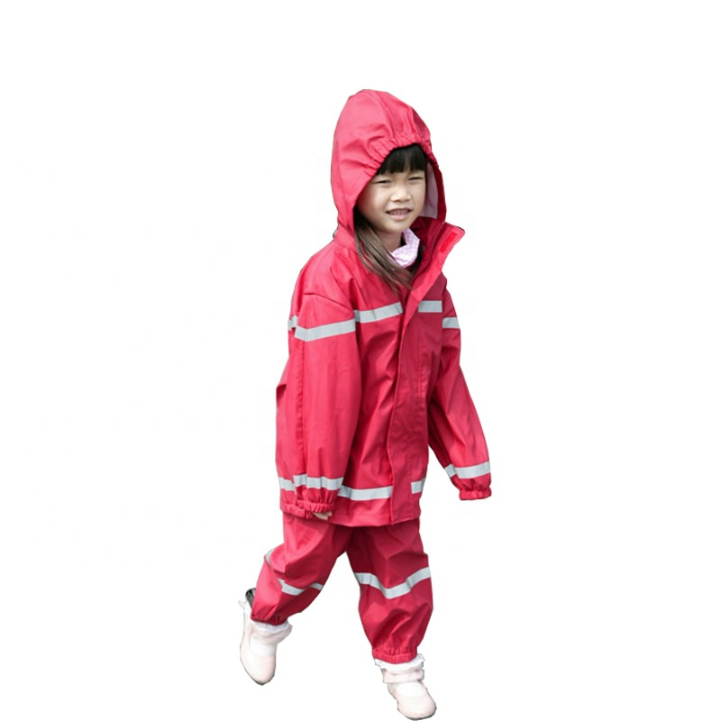 e9d2f4cf3a7 Good Quality Shiny Pu Lovely Red Kids Overall Rubber Fabric Raincoat ...