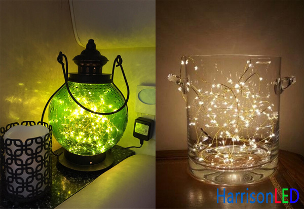 Short Battery Copper Silver Wire Led String Lights For Jar Bottle Decoration