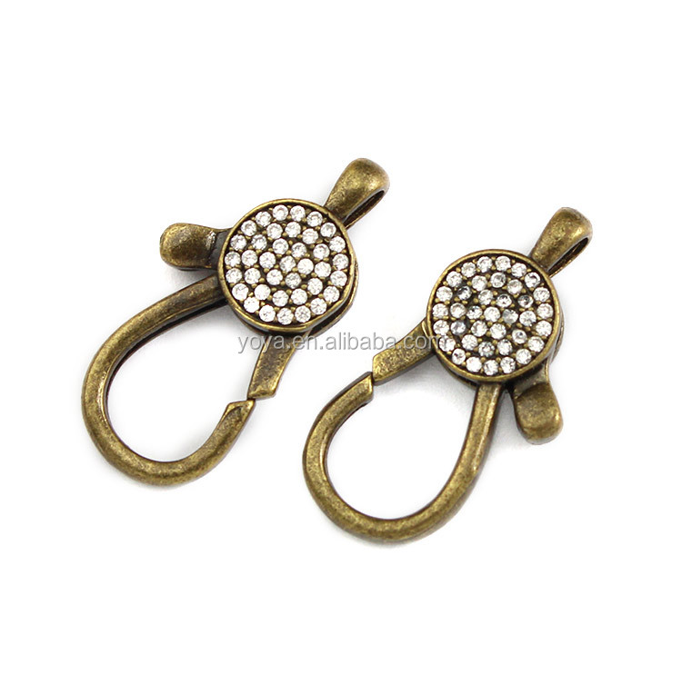 CZ6982 Wholesale CZ micro pave bronze lobster clasps,diamond inlay lobster clasps