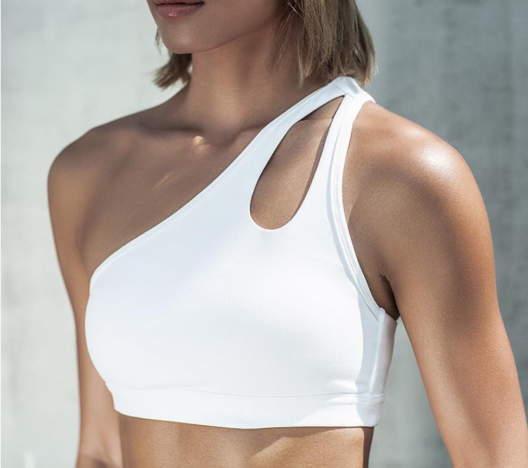 50bfdfb34 2017 Sexy Um Ombro Sólido Mulheres Sutiã Esportivo de Fitness Yoga Sutiãs  Ginásio Esporte Acolchoado Top