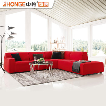 Home Furniture Elegant Style Red Colorful Sectional Fabric 7 Seater Sofa Sets For Living Room