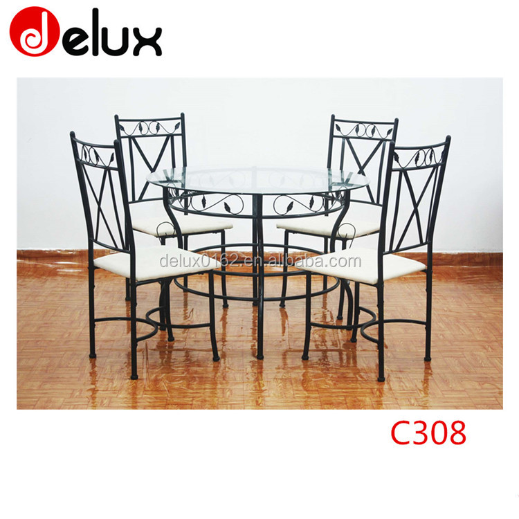 1+4 round glass top chrome Metal living room table and chairs for leisure C308