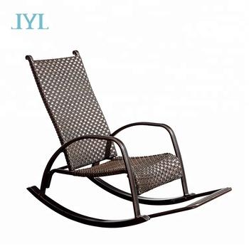 Cast Aluminum Outdoor Garden Rattan Wicker Rocking Chair For Home